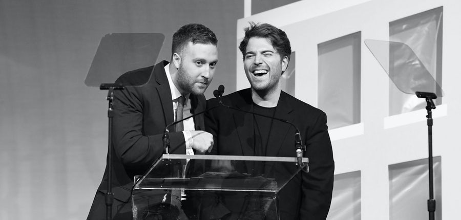 Shane Dawson accepts the award for YouTuber of the Year with Andrew Siwicki